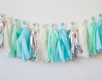 15 Tassel Garland Silver, Ivory, Mint, Blue Tassel Garland, Tissue Paper Garland, Wedding Decoration, Birthday Decor, Baby Shower Garland