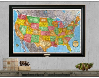 USA Travel Map, US Map, 24x36 Push Pin Map, Personalized Travel Map, Travel Gift, Vintage Map, United States Map, Map 303