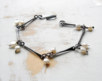 White Pearl Bracelet, Oxidised Copper Bar Link Bracelet with Dangles, Simple Jewellery