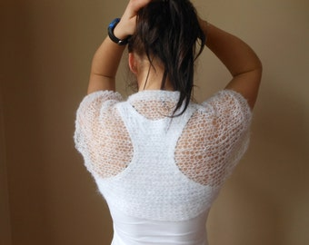 Knitted  Shrug Bolero Summer Shrug Lace White