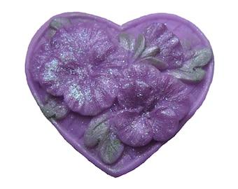 Pansy Soap -  Organic Soap - Flowers - Decorative Soap -  Heart Soap   -  Glycerin Soap  - Moisturizing Soap  -  Essential Oil Lavender