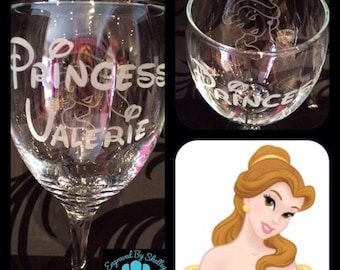 Personalised Disney Princess Wine Glass With Free Name Engraved In Disney Font. Totally Unique Gift For Any Disney Fan! Copy