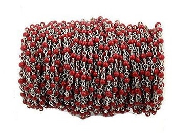 10 Feet Red Coral Stabilized Smooth Beads Wire Wrapped Beaded Chain - Gold Plated Rosary Style Chain