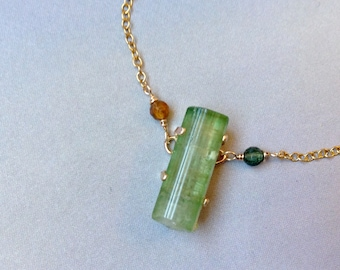 Green Tourmaline Necklace, Watermelon Tourmaline Crystal Pendant, Gold filled, 19 inches , October Birthstone Necklace, Nugget, TR03