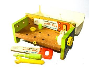 Vintage Fisher Price Tool Box Work Bench