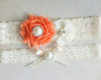 Bridal Garter Set, Wedding Garter Set, Orange garter set, Fall Garter Set, Rhinestone Lace Garter, Pearl Crystal Garter Set, Vintage Garter