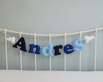 Name garland - large felt name garland - felt letters - clouds - personalised - bunting - child's decor - handmade - felt - MADE TO ORDER