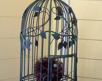 Vintage functional bird cage hand painted