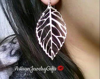 Hypo-Allergenic Silver Skeleton Leaf Earrings Silver Leaf Earrings Silver Filigree Leaf Earrings Boho Earrings Mother's Day Gift For Her
