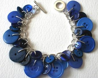 Wide Blue Yonder Button Charm Bracelet
