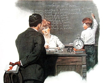 Knowledge is Power, Pardon Me! - Large Norman Rockwell Print - 1979 Vintage Book Page - Saturday Evening Post Cover - 14 x 12