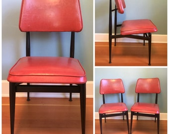 Set Of 2 Vintage Mid Century Red Vinyl Chairs, Mid Century Modern Chairs,  Retro