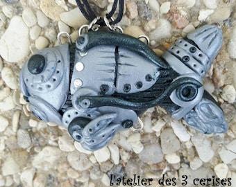 Polymer clay steampunk fish.