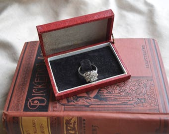 Antique Embossed Ring Box, Hinged faux leather BOx, Presentation Gift Box, Heirloom display Box, Jewelry gift for her/him