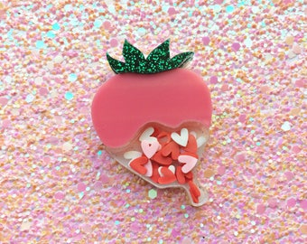 Strawberry Brooch, Valentines Brooch, Strawberry Pin, Valentine's Day, Kitsch Brooch, Rockabilly Brooch, Pinup Accessories, Pinup Brooch,