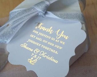 Classic PERSONALIZED Thank You For Joining Us As We Set Sail Nautical Boat Anchor Theme Wedding Favor Thank You Tags White Gold