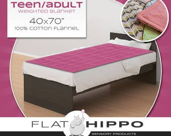 """Flannel Teen/Adult Weighted Blanket - 40x70"""" - you choose weight and fabric"""