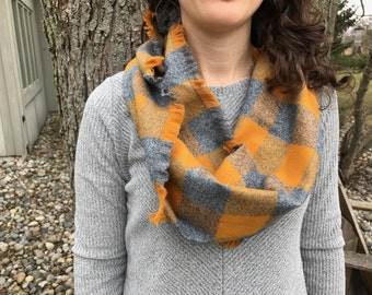 Gray and Mustard-Gold Cowl