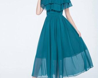 blue chiffon dress, womens summer dress, wedding dress, maxi dress, ruffle dress, bridesmaid dress, prom dress, high waisted dress 1747