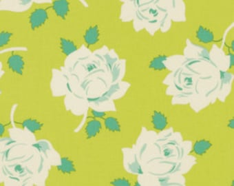1 Yard Gorgeous HEATHER BAILEY Fabric Lottie Da - COLLECTION Vintage Rose in Lime