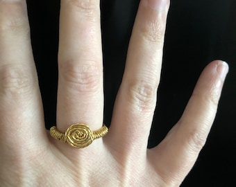 Gold wire wrapped never ending ring