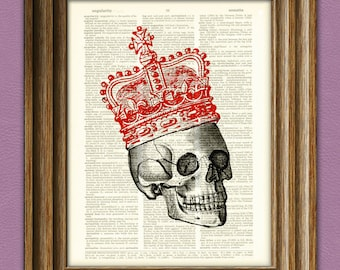 cool SKULL with red royal CROWN upcycled dictionary page book art print