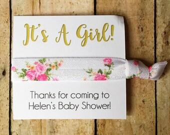 Hair Tie Shower Favors, Girl Baby Shower Favors, Girl Baby Shower, It's a Girl, Boho Shower Favor, Baby Shower Favor, Pink Shower, Favors
