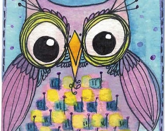 ACEO Original Big-Eyed Owl Purple Yellow Blue Watercolor OOAK Gift Ceville Designs