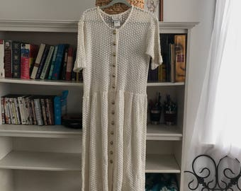 Vntg AKA Los Angeos White Crochet Dress with Gold Buttons size S , cover up, swimwear, knit cover-up, sunny summer fun