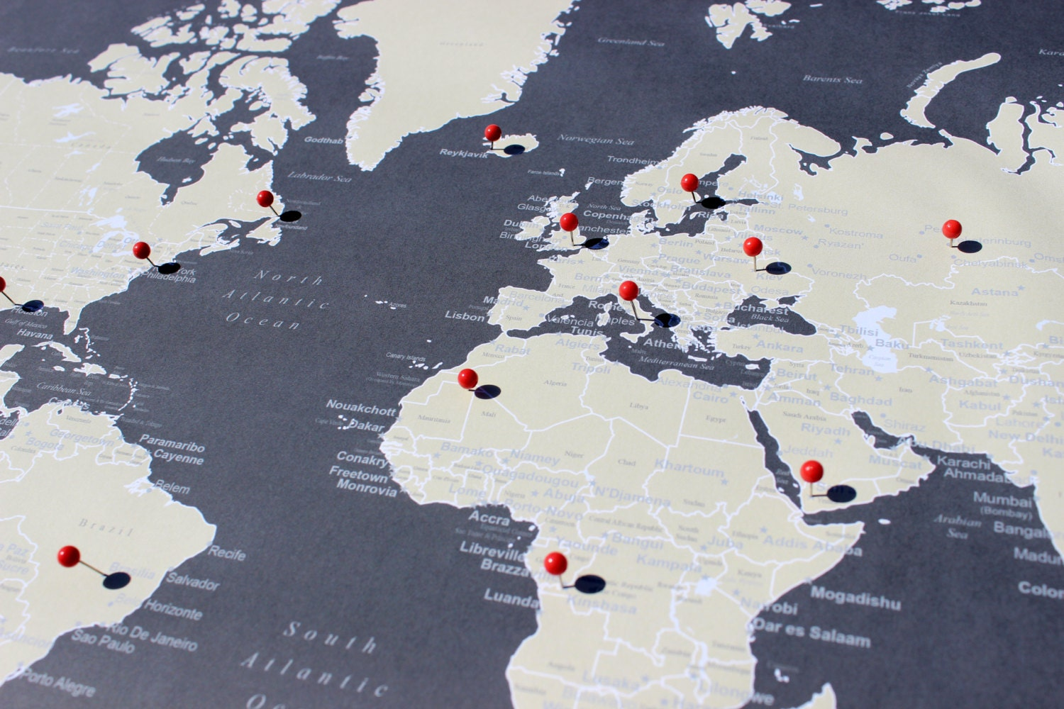 World Push Pin Map Print Only Travel Map Map Poster - World map poster push pins
