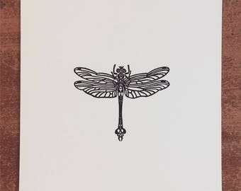 Dragonfly Linocut Print // Handmade // Original