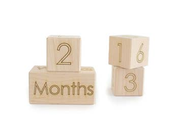 Baby Age Block Set - monthly wooden milestone blocks - newborn photo prop
