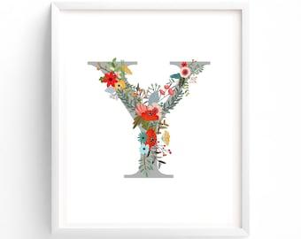 Letter Y,  Floral, Woodland Printable Letter Monogram, Nursery Art. Art Prints, Baby Girl Nursery, Wall art Prints