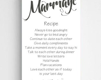"""Personalized Marriage Recipe Canvas Sign  -  Personalized Couples Canvas Sign - 14"""" x 24"""" - CA0126 WHITE"""