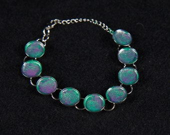 Hand Painted-one of a kind- Chain Bracelet-Silver-Circle Bezel