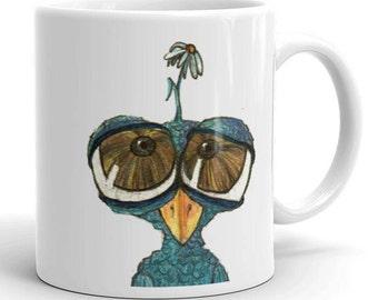 Mug, Art Mug, Quirky Cartoon Mug, Coffee Mug Bird Mug Original Art Gift for Teacher, Gift for Boss, Mother's Day Gift for Her Gift for Him