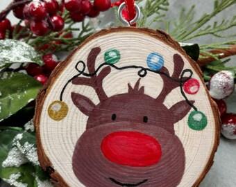 Reindeer Ornament - Wood Slice Ornament - Wood Ornament - Wood Slice - Stocking Stuffer - Gift Idea - Ornament - Rustic Christmas