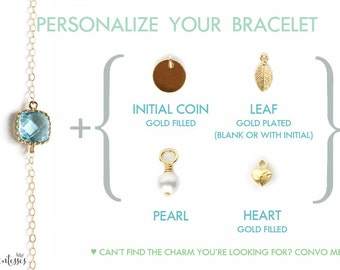 Customize your Gold Bracelet with a Charm or Personalized Coin. Bridesmaids personalized bracelet. Custom bracelet. Special bracelet