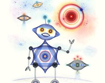 Robot Art Print, Cute Robot and Spaceships, Art for Robot Lovers, Whimsical Robot, Robot Gift, Robot Wall Art Print, Art for Kids Blue Robot