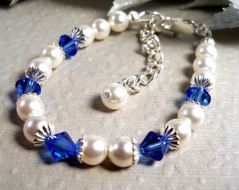 Blue Girls Bracelet, Sapphire Blue, Flower Girl Jewelry, Toddler Bracelet, September Birthstone, Blue Bracelet, Kids Jewelry, Blue Jewelry