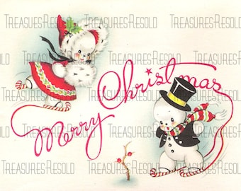 Retro Snowman Couple Ice Skating Christmas Card #34 Digital Download
