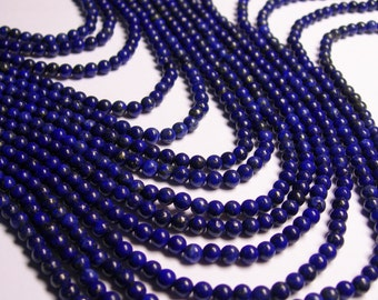 Lapis Lazuli 4mm -  round - full strand - 98 beads - A Quality - RFG1106