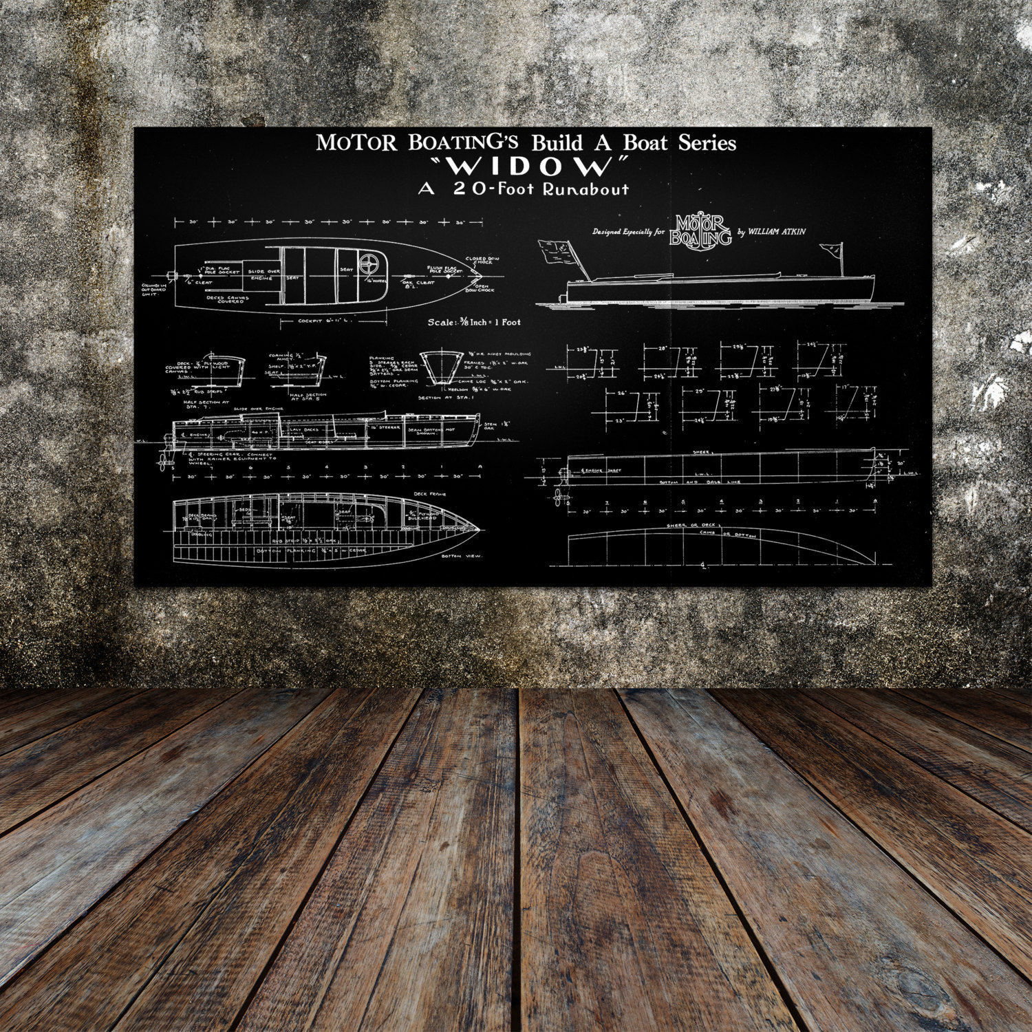 Print of vintage widow boat blueprint from motor boatings build a print of vintage widow boat blueprint from motor boatings build a boat series on your choice of matte paper photo paper or canvas malvernweather Choice Image