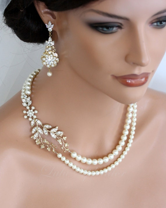Wedding Pearl Necklace Vine Leaf Gold Bridal Necklet Swarovski