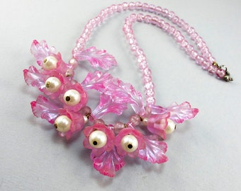 Vintage Necklace 1950s Plastic Beads Necklace With Faux Pearl Beads Purple Necklace Floral Necklace Plastic Jewelry Vintage Jewellery