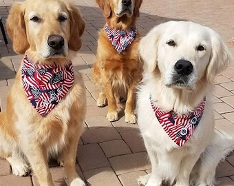 American Flag Dog Bandana || Personalized Patriotic Reversible Dog Scarf || Puppy Gift by Three Spoiled Dogs