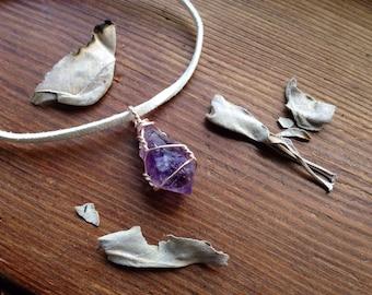 Vegan Leather Bracelet - Amethyst Point Bracelet - Amethyst Point Pendant - Amethyst Crystal Bracelet - Cruelty Free Jewelry - Vegetarian