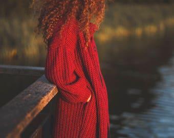 red cardigan / wool cardigan / alpaca cardigan / cardigan / sweater / sweaters / alpaca wool / handmade / gift / soft cardigan /