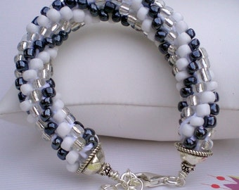 Crochet Black and White Rope Bracelet - Medium - Large - Hand made