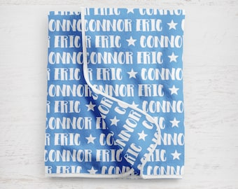 """The """"Connor"""" Personalized Baby Name Blanket Any Color"""